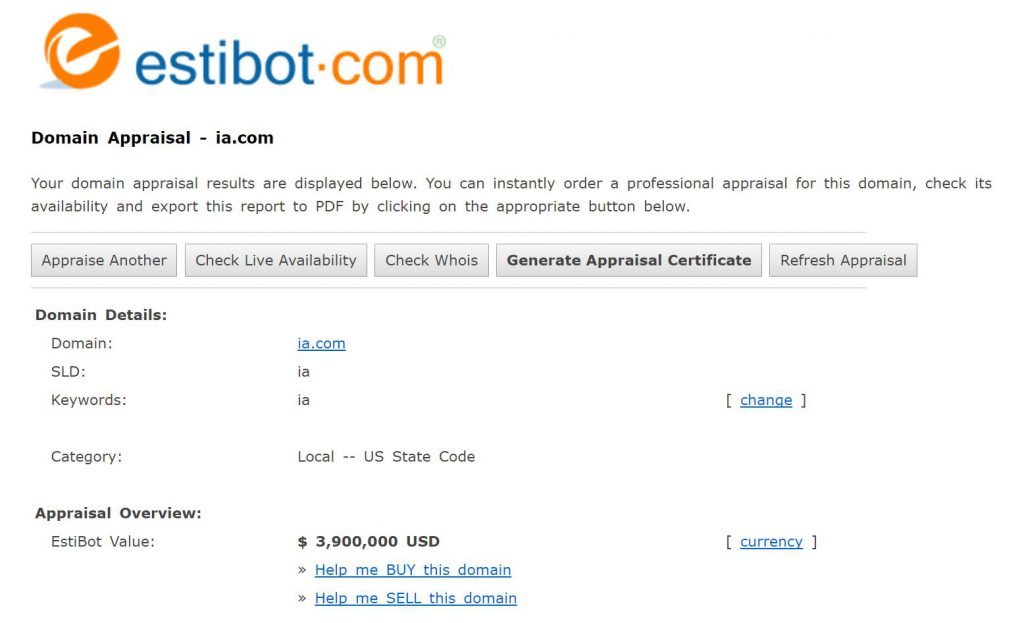 Estibot Bewertung ia.com