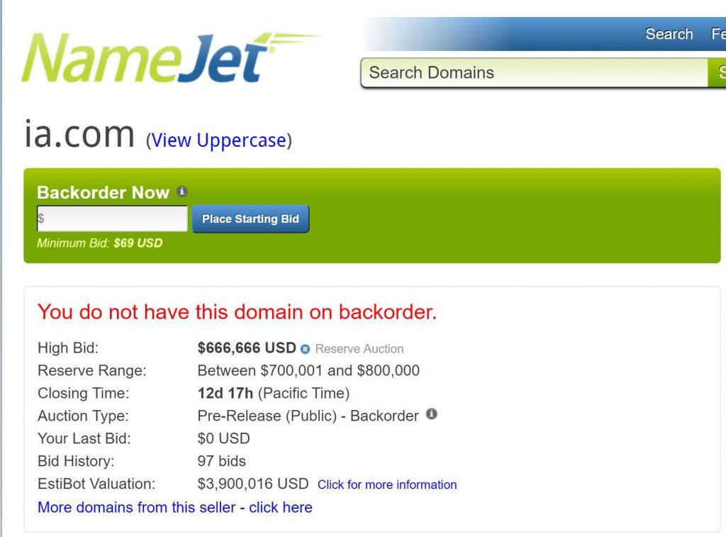 NameJet Auktion ia.com